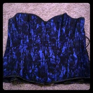 Daisy Corsets Blue Corset with Black Lace Overlay